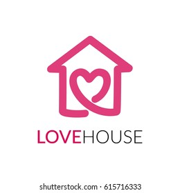 Simple icon of house with heart shape within. House line art shape. Vector symbol logo template easy to edit.
