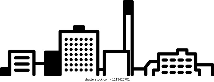 Simple icon illustration of the business district skyline of the suburb of Moncton, New Brunswick, Canada in black and white.