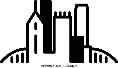 Simple icon illustration of the skyline of the city of Pittsburgh, Pennsylvania, USA in black and white.