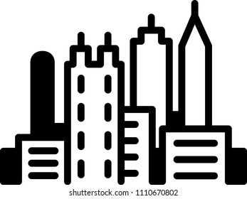 Simple icon illustration of the skyline of the city of Atlanta, Georgia, USA in black and white.