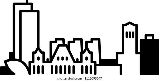Simple icon illustration of the skyline of the city of Albany, New York, USA in black and white.