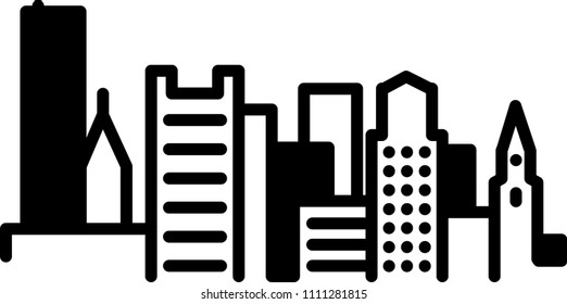 Simple icon illustration of the skyline of the city of Boston, Massachusetts, USA in black and white.