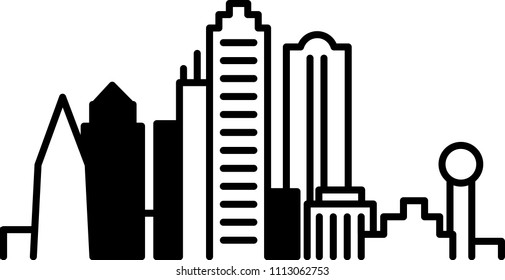 Simple icon illustration of the skyline of the city of Dallas, Texas, USA in black and white.