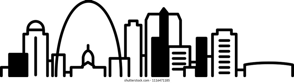 Simple icon illustration of the skyline of the city of St. Louis, Missouri, USA in black and white.