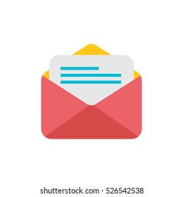 Simple icon letter in an envelope on the white background