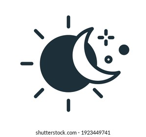 Simple icon in line art style with sun, half-moon and stars. Change of day and night concept. Linear flat vector illustration isolated on white background