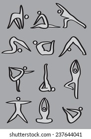 Simple icon man demonstrating different yoga poses. Vector icons isolated on grey background