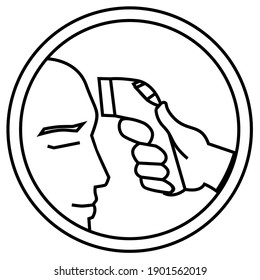 Simple Icon Outline Of Coronavirus Safety Related Vector. like a body temperature gauge