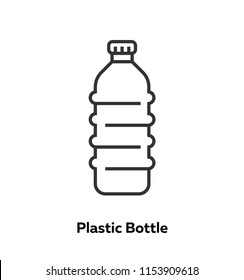 Simple icon Plastic Bottle in outline style on isolated background. From set is ecology and recycle. With decorative colorful elements.