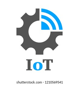 Simple icon to represent the Internet of Things (IoT) concept. Gear, settings and network. Iot, Industry 4.0, 5G