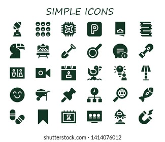 simple icon set. 30 filled simple icons.  Simple modern icons about  - Trophy, Friends, Cpu, Parking, Flyer, Books, Toucan, Artboard, Shovel, Pan, Chat, Wc, Camera, Calendar, Seagull