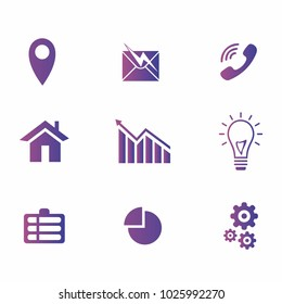 simple icon set for business, computer, an collection