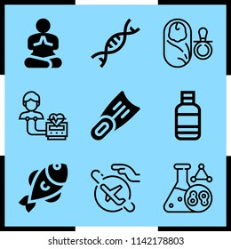 Simple icon set of life related cell division, heart rate monitor, yoga and travel vector icons. Collection Illustration