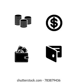 Simple icon set related to Money. Black & white icons optimized for both large and small resolutions. Transparent background.