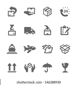 Simple icon set related to shipping and logistics.