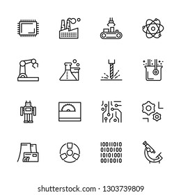 Simple icon set scientific industry, production and manufacturing. Contains such symbols plant, factory, chemistry, physics, medicine, biology, research, digital technologies and laboratory equipment