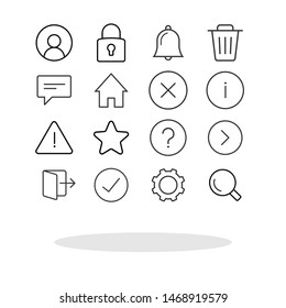 Simple icon set in trendy flat style. Basic interface symbol for your web site design, logo, app, UI Vector EPS 10. - Vector