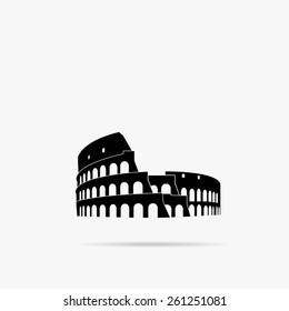 A simple icon silhouette Coliseum in Rome.