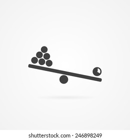 Simple icon of teeter. Gray with shadow and isolated on white.
