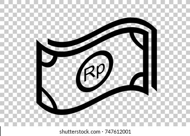 Simple Icon, Waving Rupiah Paper Money, at Transparent Effect Background