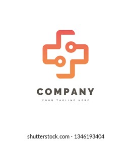 The simple and iconic design concept Health Tech Logo
