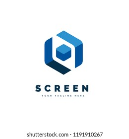 The simple and iconic design concept of Screen Cube Logo
