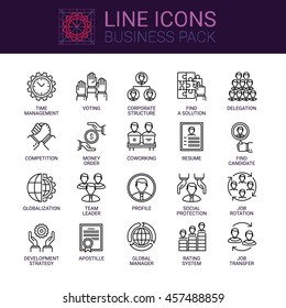 Simple icons set of business relationship and corporate career in line style