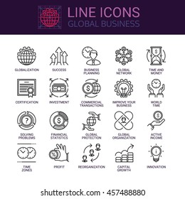 Simple icons set of global business relationship and worldwide communication in line style