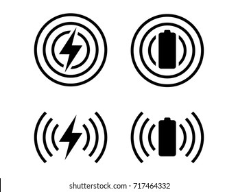 simple icons set of wireless charging symbol in vector