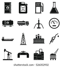 Simple illustration of 16 Oil industry items vector icons for web