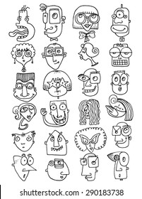 simple illustration  background FUNNY FACES doodle icons characters