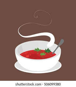 Simple illustration of the big bowl of the organic tomato soup.  Single food portion served on the brown background, Hot food steaming.