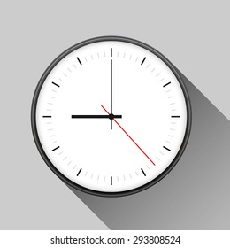 Simple illustration of clock with hour, minute and second arrows, isolated on white background, with long shadow. Can be used as icon. Vector illustration