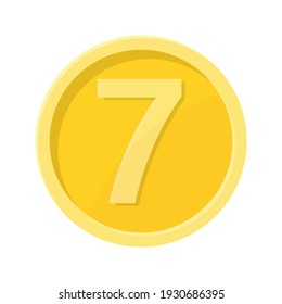 Simple illustration of coin with number seven Concept of internet icon