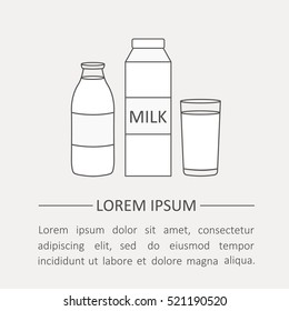 Simple illustration with dairy produce, poster design. Set of dairy products, background vector. Flat thin line icons, modern style. Black and white emblem