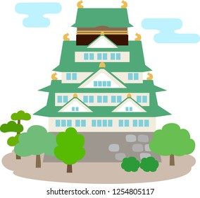 Simple illustration of Japanese castle