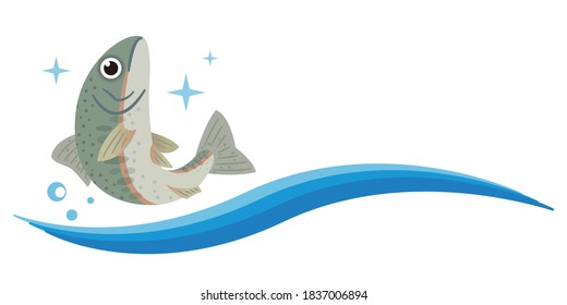 Simple illustration of jumping rainbow trout