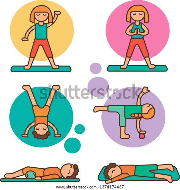 Simple Illustration Kids Doing Exercise Stock Vector Royalty Free 1374174437
