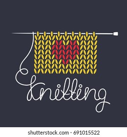 Simple illustration with knitting needle, knitting and english text. I love knitting, poster design. Colorful background, sewing tools. Decorative backdrop vector