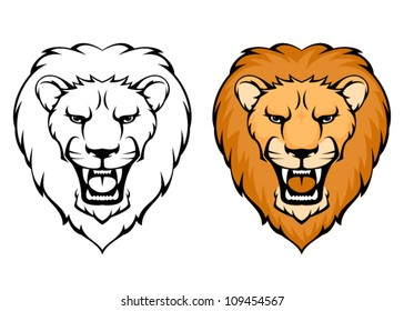 simple illustration of lion head suitable as tattoo or team mascot, outlined and in colors