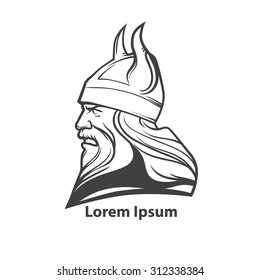 simple illustration for logo, viking head, profile view, angry, sport team
