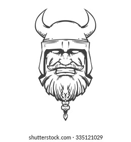 simple illustration for logo, viking head, front view, angry, sport team