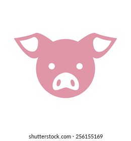 Simple illustration of a pink pig head