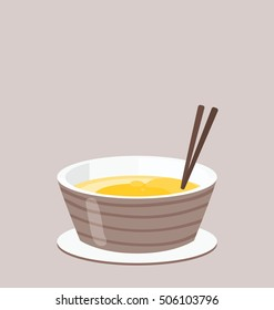 Simple illustration of the single serving of the Asian noodle soup whit chopsticks in the brown bowl. Big empty copy space on the top of the illustration on the brown background.