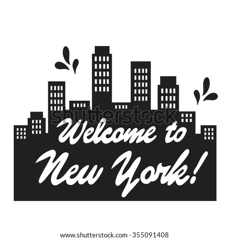 Simple Illustration With Skyscrapers Of New York Poster Design Black And White Background Made