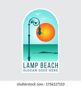 Simple illustration of street lights with vintage models located on the beach with the sunset. vector illustration of sticker or logo design template.