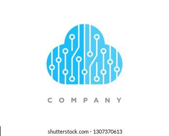 Simple illustration techno cloud data.