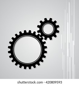 Simple illustration of two gear wheels in grey colors vector