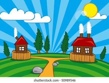 Simple illustration of village view