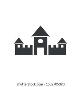 simple ilustration  sand castle editable logo symbol design